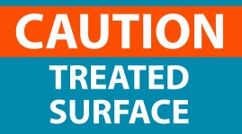 Caution treated surface sign2